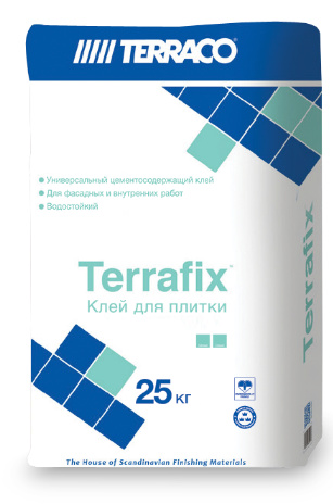 Terrafix универсальный цементный клей для керамической плитки и керамогранита